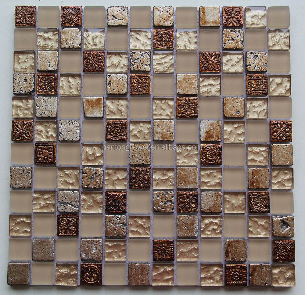 flower pattern man-made stone and travertine mosaic gold foil glass wall tile for interior home kitchen backsplash JBD2306