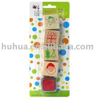Christams wooden stamp set,toy stamp set with ASTM test