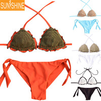 Fashion Hot Women Sexy Handmade Crochet Brazilian Bikini 2017 New Swimwear Swimsuit