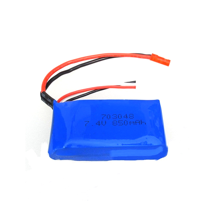 703048 2S1P rechargeable 7.4V 850mAh RC helicopter small lipo battery pack