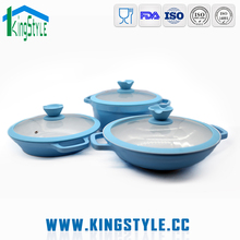 European design hot sale aluminium ceramic non stick ceramic marble stone coating cookware set