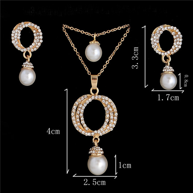 High quality Imitation Pearl Jewelry Sets For Women Pearl Austria Crystal Rhinestone Earrings Multilayer Necklace Pearl Jewelry