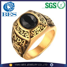 Wholesale Luxury Male Antiqued Great Wall Pattern Stainless Steel Ring Temperament Black Color Rhinestone Men Jewelry
