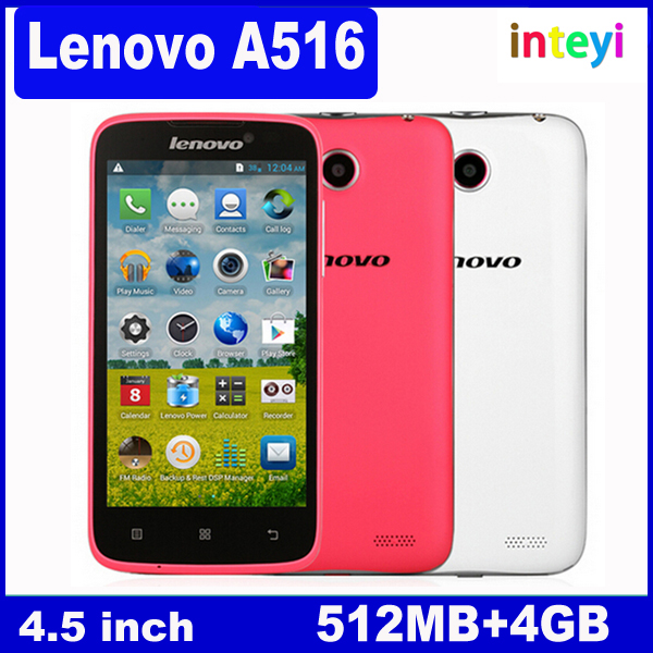 100% Original Lenovo A516 MT6572 4GB 854*480 4.5 Inch IPS Android 4.2.2 Dual Core Cellphone Cheap Mobile Wholesale