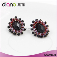 Hot sale fashion jewelry wholesale crystal beads oval gem stud earrings for women