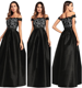 China Suppliers Wholesale Satin Drill Lace Splicing Off Shoulder Black Long Gowns Evening Dresses