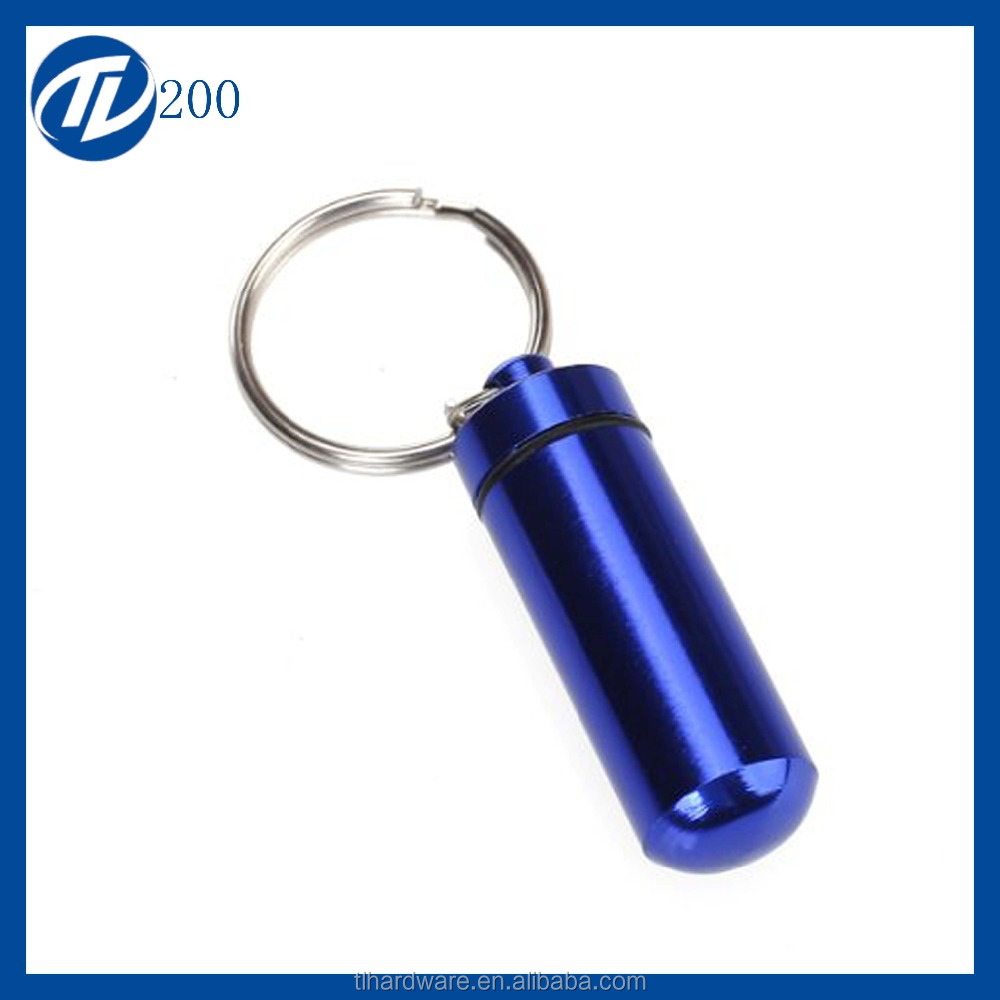 Outdoor First Aid Small Bullet Shape Pill Bottle Box Keychain Medicine Bottle Silver Aluminum Alloy Drug Holder Keychain