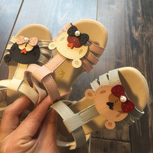 B21379A Korea girl cute bear soft sandals summer toddler shoes