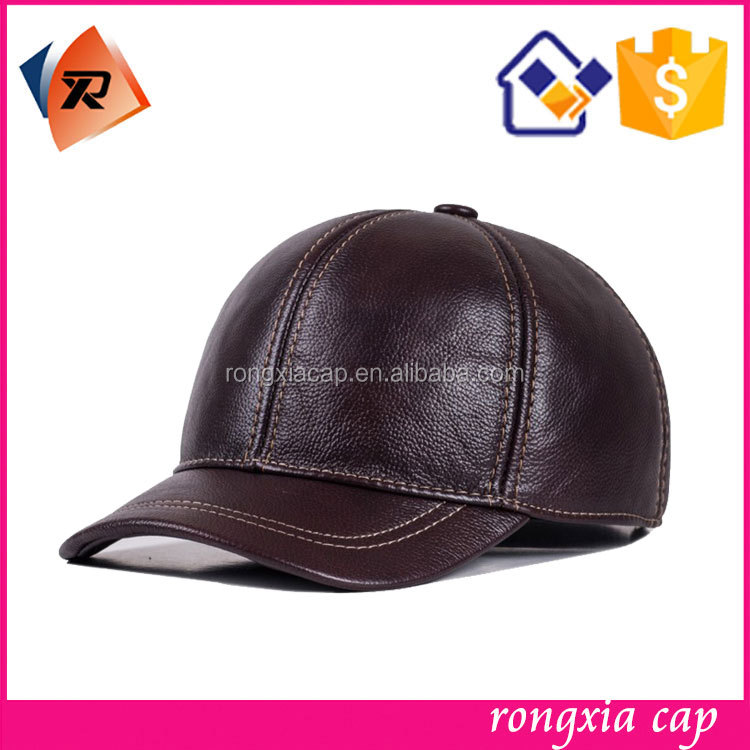Keep Warm Winter Leather Brim Baseball Cap with Ear Flaps