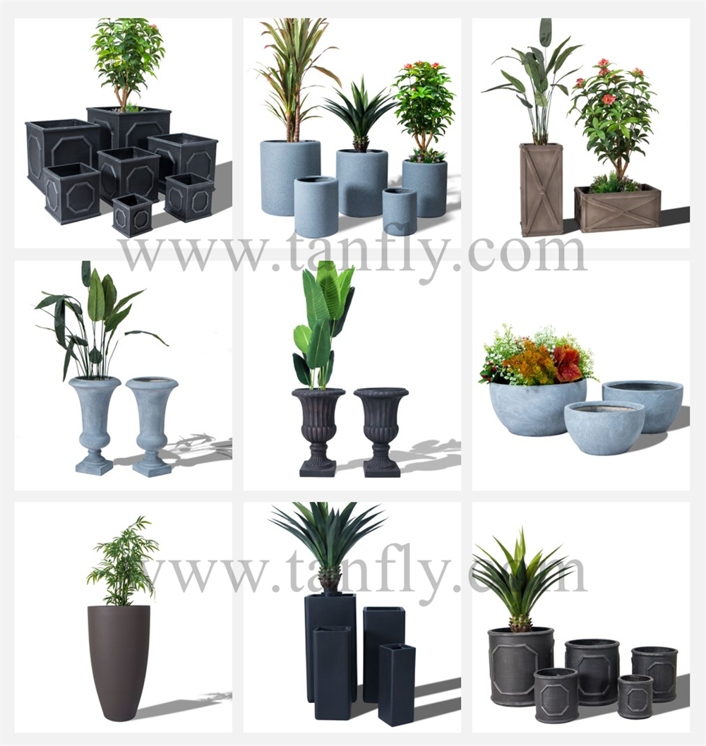 Cheap Fiber Clay Cement Vertical Garden Large Flower Pots & Planters