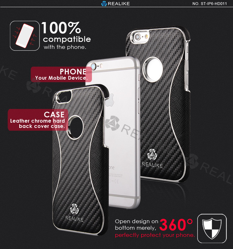Perfect fit chrome heart for iphone 6 carbon fiber chrome heart case