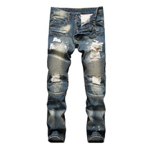 2017 wear retro colors funky patches distressed straight men rock revival jeans