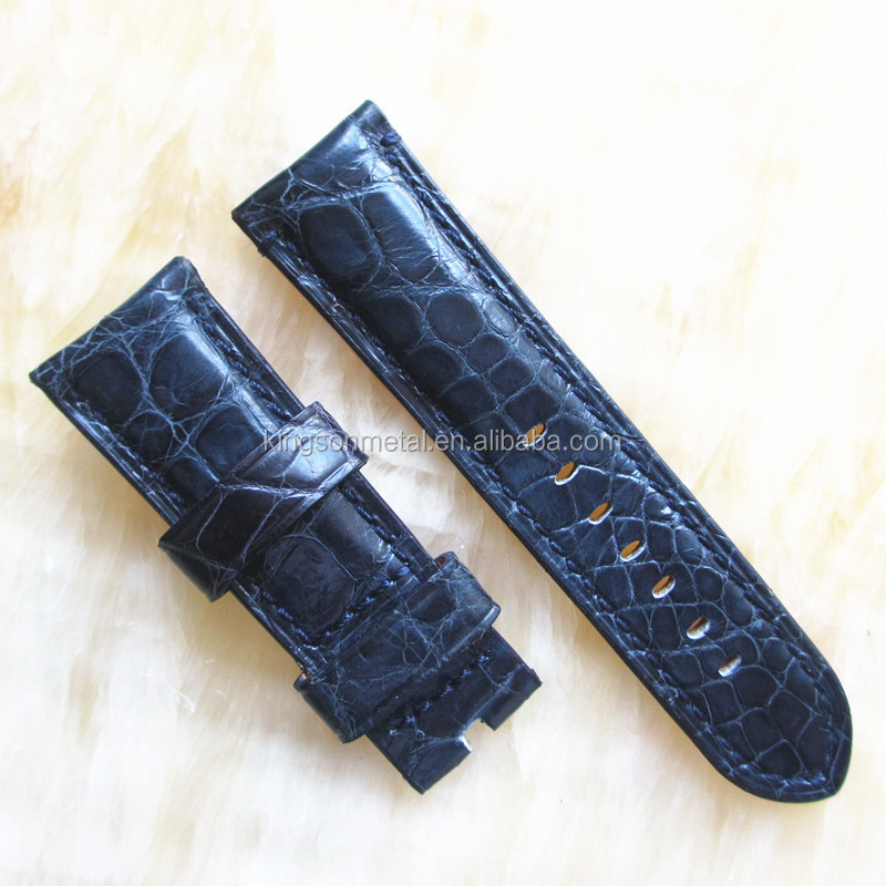 Blue exotic alligator leather handmade watch band fit deployment buckle