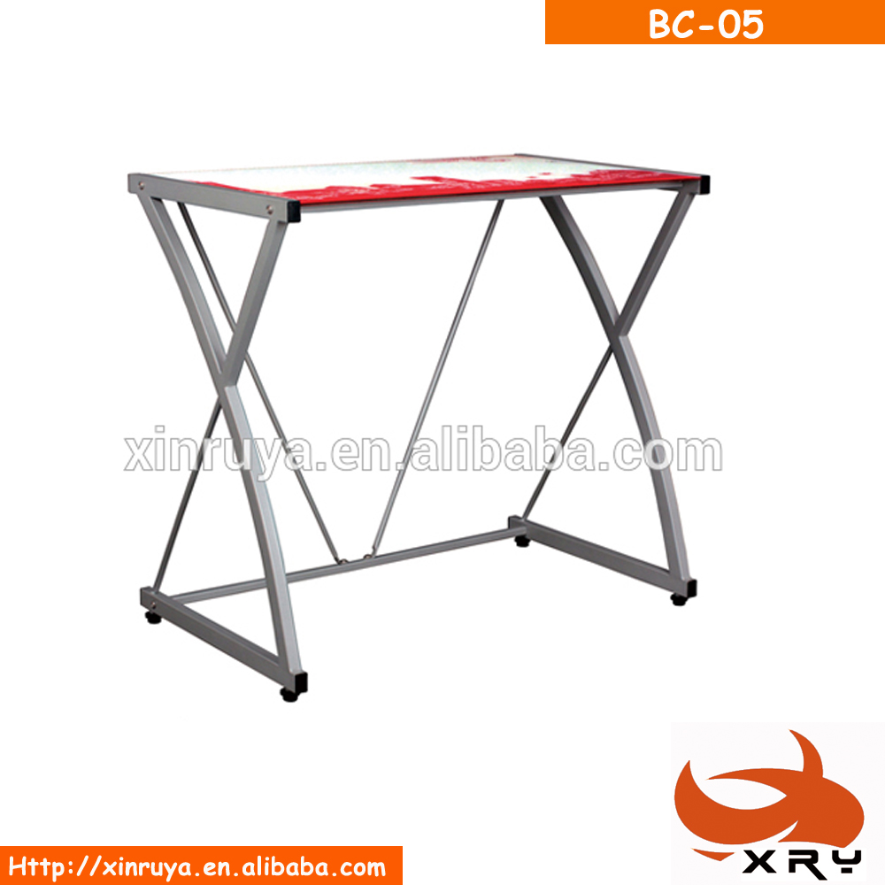 Modern Good Price Metal Frame Glass Computer Desk Table