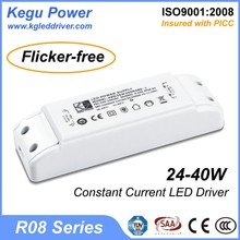 6 KEGU R08 24-40W Constant Current LED Driver LED(Flicker-free) with TUV CE SAA, meanwell led driver quality