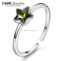 T400 2015 Fashion Wedding Jewelry White 925 Sterling Silver Rings Austrian Crystal #4413