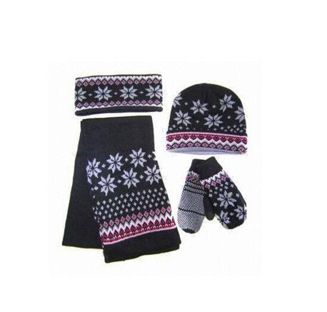 Fashion snow pattern warm winter hat scarf gloves