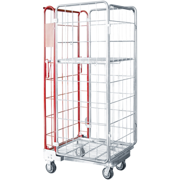 Hot sale popular roll container trolley/Folding rolling wire mesh trolley/Folding cart