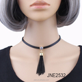 Leather choker necklace with tassel collar necklace