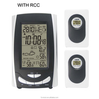 433 MHz Wireless RCC Weather Station,Wifi Weather Station Clock Thermometer with 2 Remote Sensors