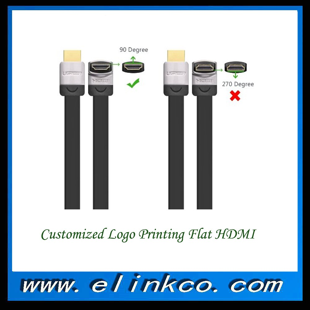 Customized logo printing 180 M to 90 degree M HDMI cable supports 4K 3D 1080P