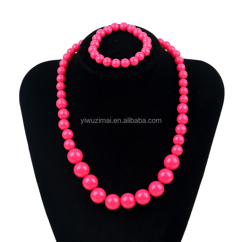 Hot pink little girl beads necklace fashion jewelry sets cheap children promotion gift jewelry set