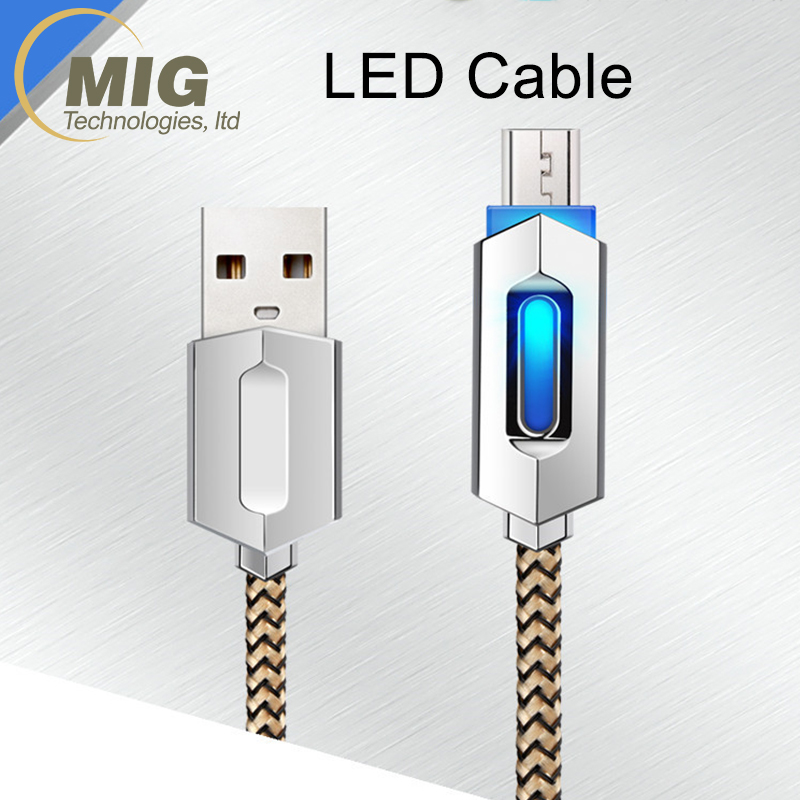 Breathe LED light Braided Micro USB Cable Android Charging Cable for Galaxy S7/S8 Data cables 2A fast charge support alloy plug