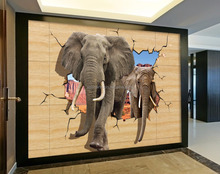 3D PVC Wall Paper Designs Elephant Animal Wall Sticker Kid for Children Room
