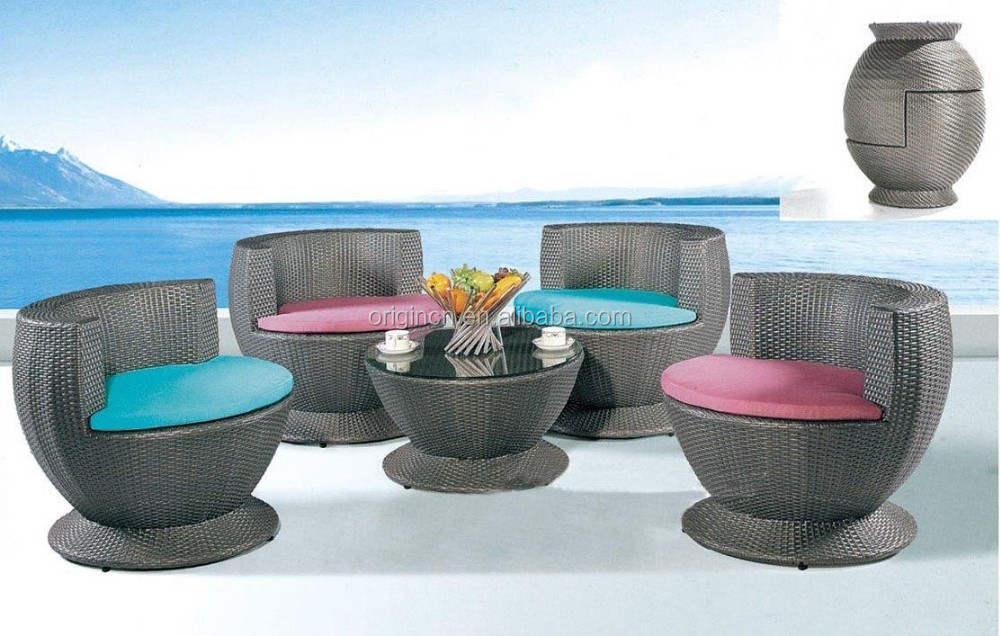 Round Based Well Used Patio Stacking Furniture With Low Coffee Table And Wick