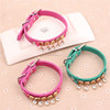 Adjustable Green Pink Pet Dog Collar Leather Accessories With Drill Pendant