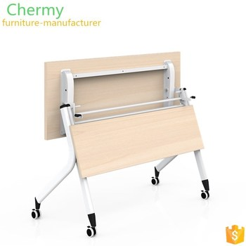 Small size aluminum foot movable office melamine meeting/ training table with locked wheels