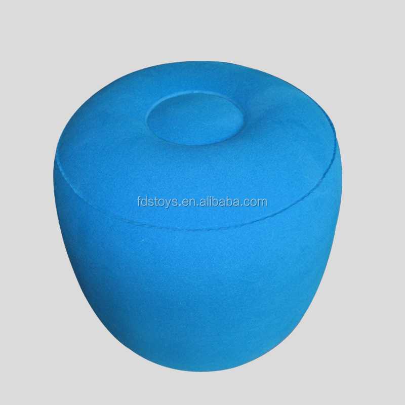 PVC flocking plush inflatable round shape seat pouf