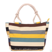 wholesale fashion big rope handle cotton canvas diaper tote bags