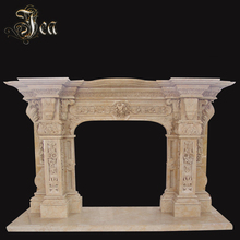 Hand carved stone marble fireplace for home decorated