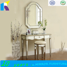 Jingshijie handmade modern glass dressing table with mirrors bedroom furniture
