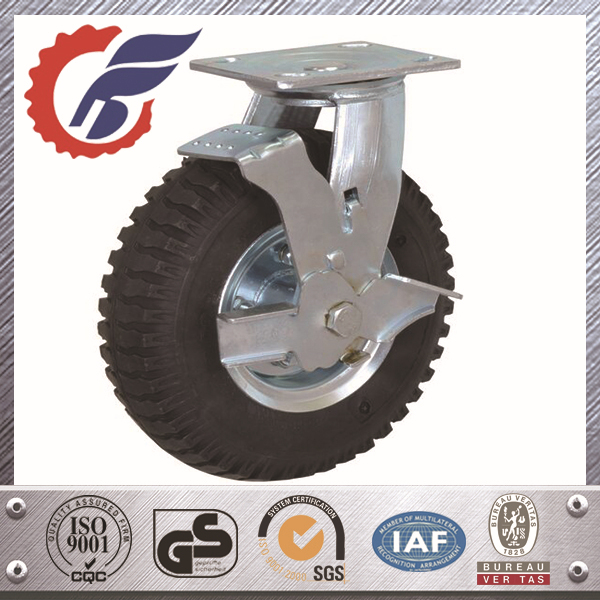 Industrial Heavy Duty Swivel Casters Rubber Wheels With Side Brake For Trolley