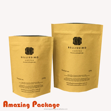 Degassing valve zip lock stand up plastic foil kraft paper coffee packing bags 250g 500g 1KG 2KG