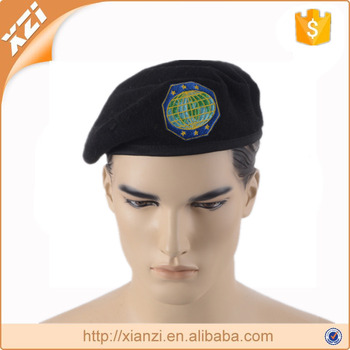 Knit cap berets oem embroidered beret black wool military berets