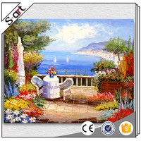hand painted scenery canvas wall art oil painting garden scene