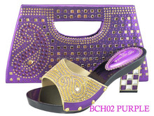 BCH02 purple fancy stones shoes matching bag italian shoes and bag set high quality evening shoes with crystal purse bag