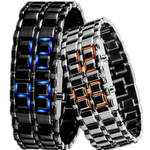 lot Fashion LED Iron Watches Women's Lovers Bracelet New Men's Lava Style Iron Samurai LED Metal Watch Wholesale