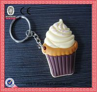 PVC imitation food cup cake key chain for gift hot sale