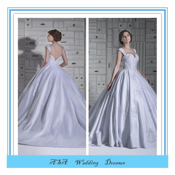 Elegant Square NECK Puffy dress wedding Princess Ball Gown silver satin wedding dress 2015(YASA-5081)