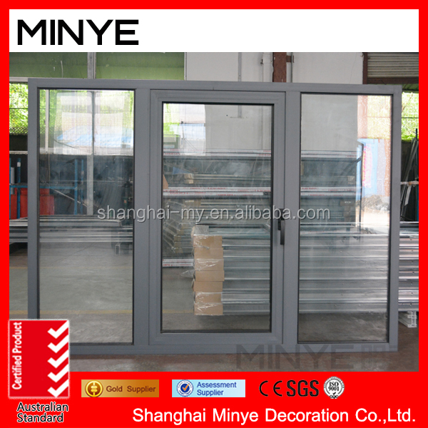 powder coating surface aluminum frame casement window with fixed window customized color