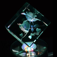 3d rose engraved crystal for wedding anniversary souvenir,indian crystal wedding gifts