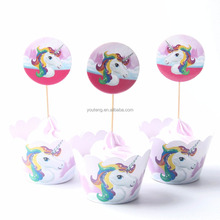 YIWU PARTY SUPPLIER Color Unicorn Cupcake Topper Wedding 1St Birthday Party Supplies Baby Shower Cake Decoration