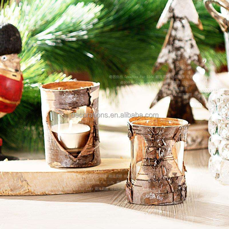birch bark glass candle holders with heart holes