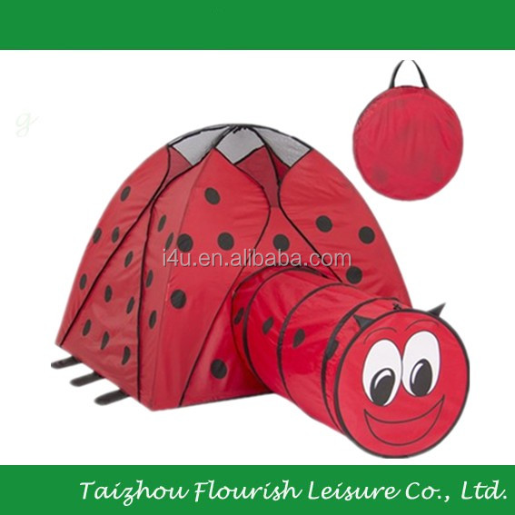 Kids Foldable Cartoon Printing Cute Ladybug play Tent with Tunnel
