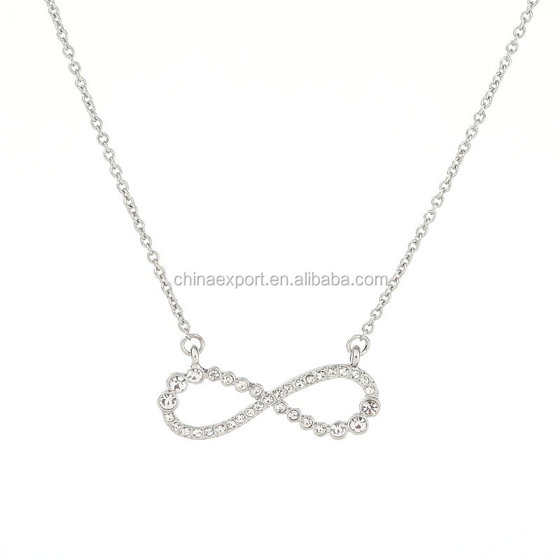 Bridal jewelry silver color infinity necklace with crystal