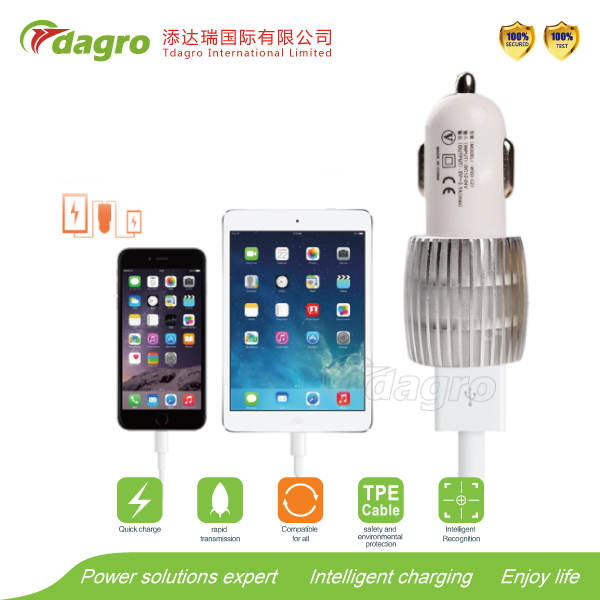 506 Intelligent IC Auto Charging Smart mobile phone 3 USB Car Charger with bluetooth